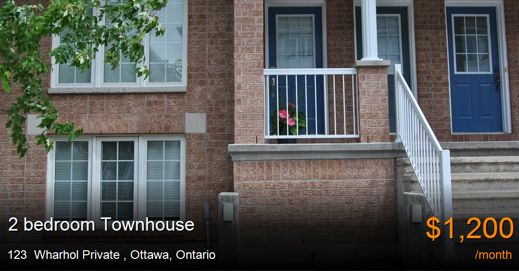 123 Wharhol Private Ottawa Townhouse For Rent B24459
