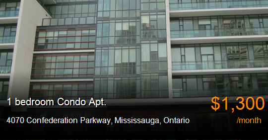 4070 confederation parkway mississauga condo apt for - One bedroom condo for rent mississauga ...